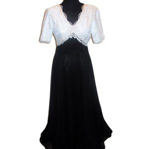 Jordan Formal Dress Gown Maxi Black White Lace